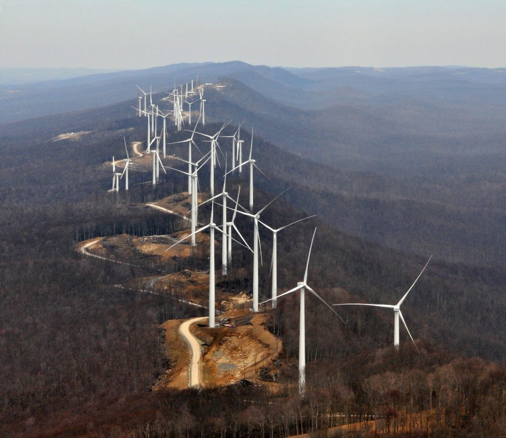 Turbines on the Laurel Mountain Wind Farm in West Virginia.